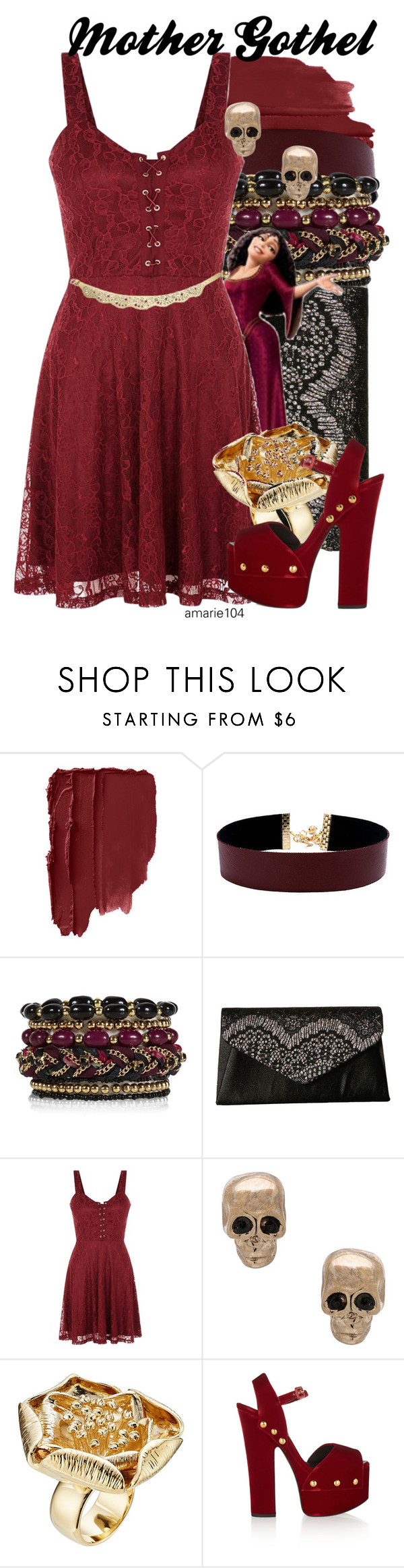 """""""Mother Gothel"""" by amarie104 ❤ liked on Polyvore featuring Vanessa Mooney, Jessica McClintock, Givenchy, Aurélie Bidermann, Giuseppe Zanotti and BCBGeneration"""