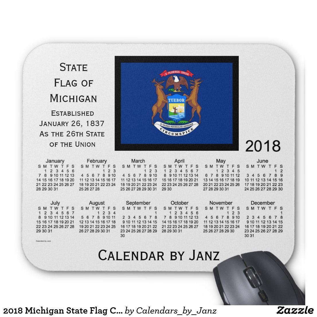 2018 Michigan State Flag Calendar by Janz Mouse Pad | Repinner's