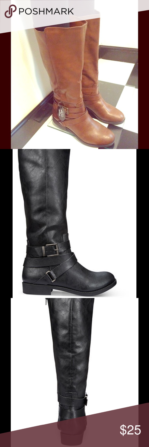 Cute Riding Boots Cute riding boots features the wrap- around buckle at the ankle. Boots are cognac in color size 9 with 1-inch heel, 15- inch height, 17-inch circumference. Boots are comfortable and cute for a date night or everyday wear box included. Style & Co Shoes Heeled Boots