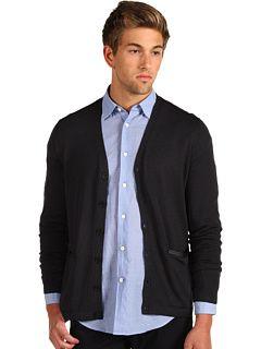 John Varvatos Solid Leather Trim Cardigan - Zappos.com Free Shipping BOTH Ways