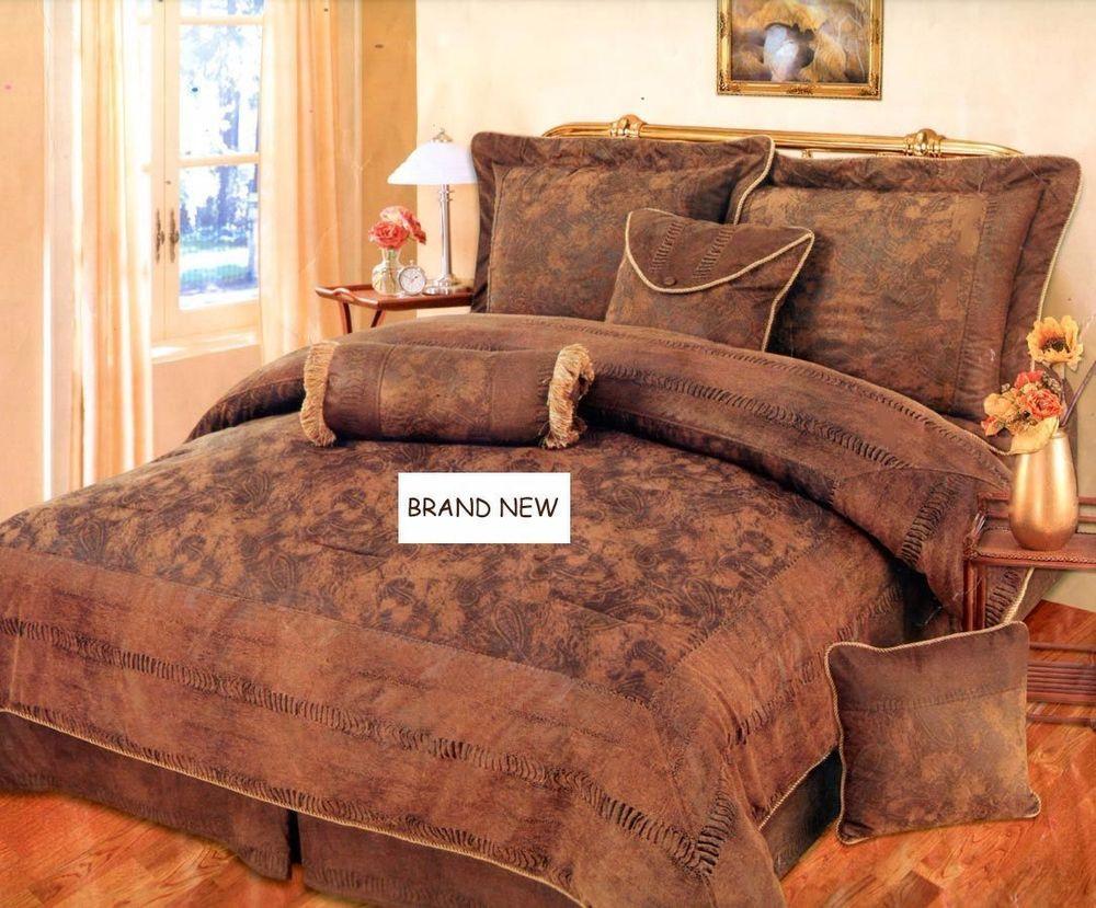 7 Piece BROWN BRONZE CAMEL Suede Comforter set QUEEN Bedding set Bed ...