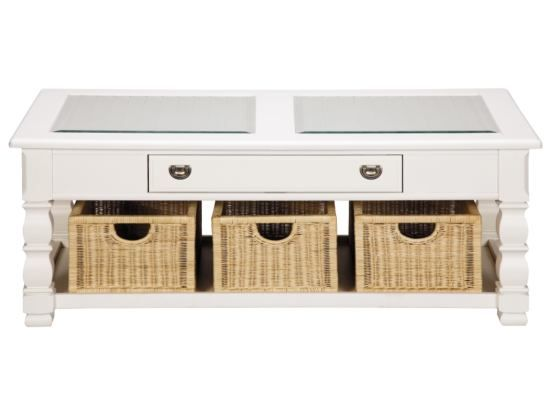 Plantation Cove White Glass Top Cocktail Table With Baskets   Value City  Furniture My Original