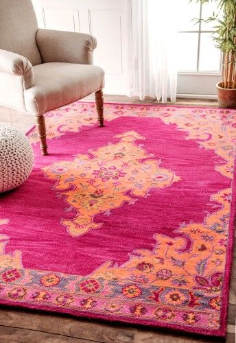 Hand Tufted Markus Medallion Pink Area Rug, Size 5\' x 8\' | HOME ...