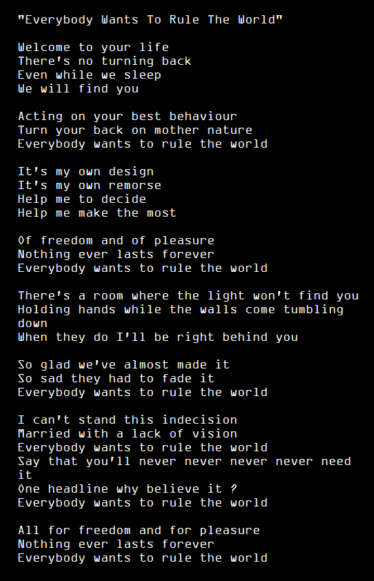 Everybody Wants To Rule The World Lorde S Cover For The Sherlock Trailer Is So Good Tears For Fears Lyrics Tears For Fears Song Quotes