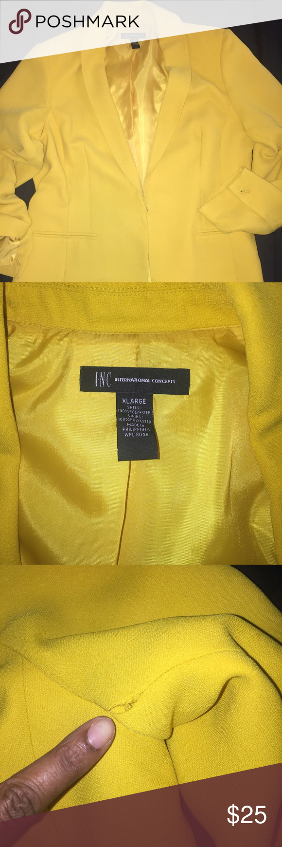 Jacket Missing 1 button on the cuff (picture pointing to it) also the stitching is slightly coming undone ( picture pointing to it). Your local seamstress or cleaner will be able to fix this. INC International Concepts Jackets & Coats Blazers