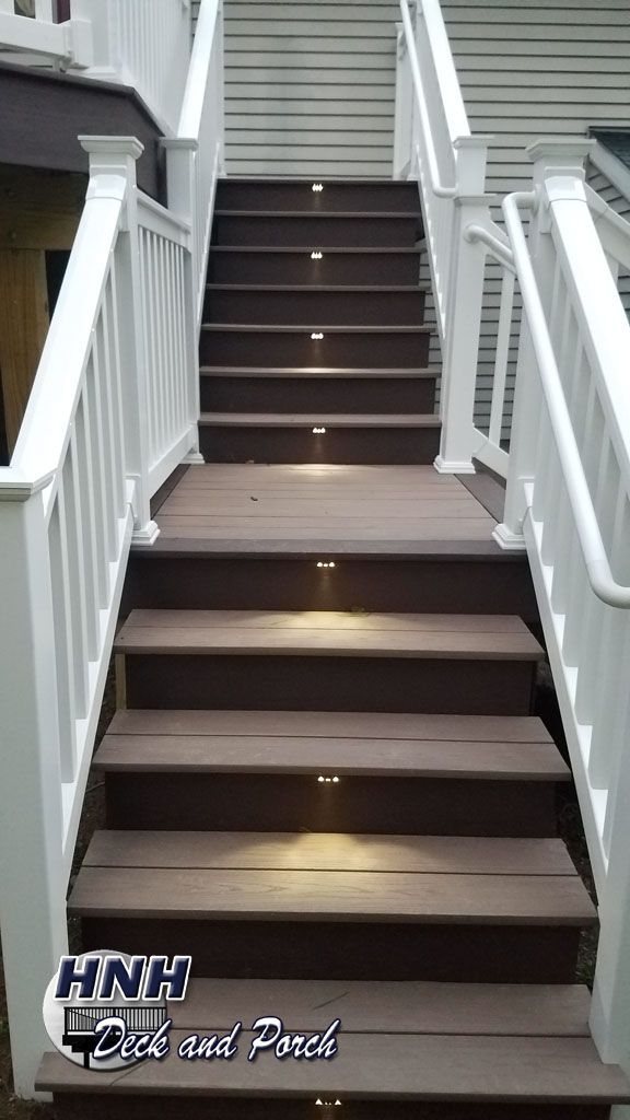 Vinyl Deck Using Azek Decking With Autumn Chestnut Flooring And Kona Border Staircase Led Accent Lights From I Lighting