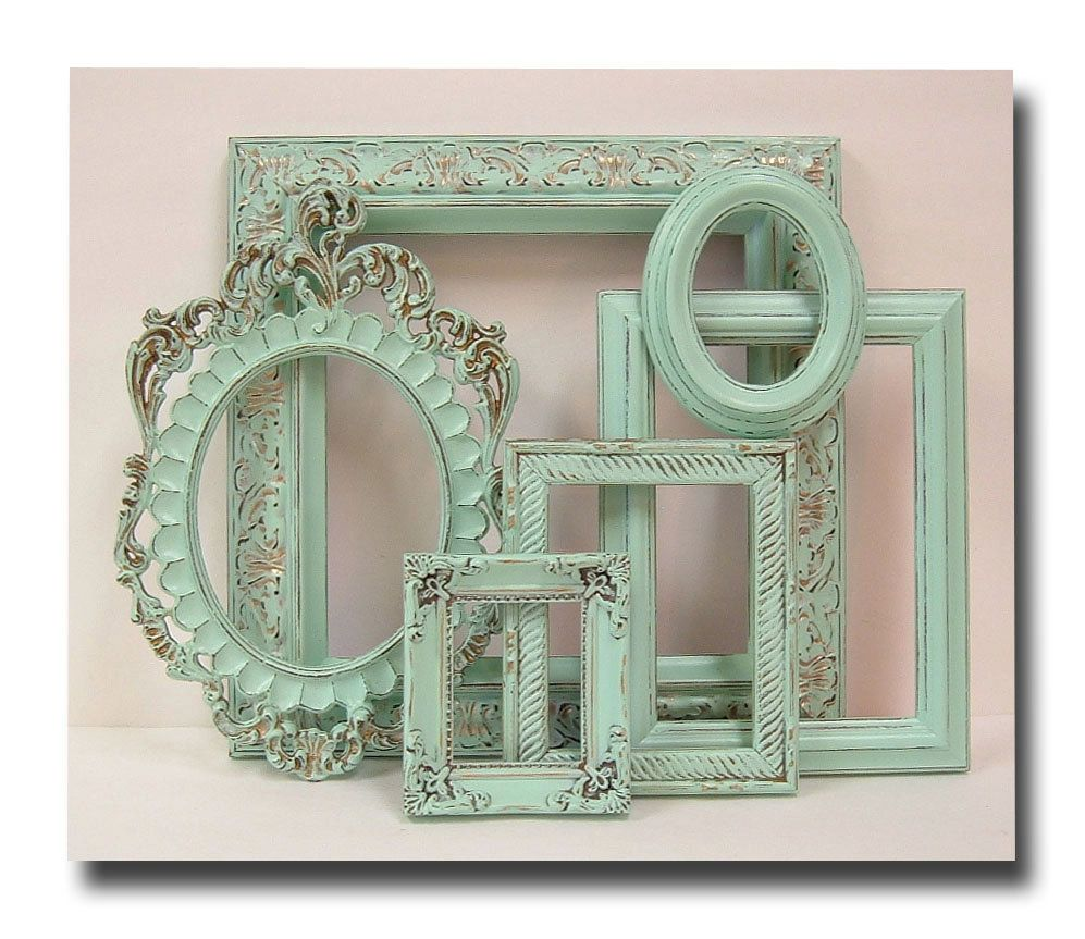 Shabby chic frames pastel mint green picture frame set for Mint green home accessories