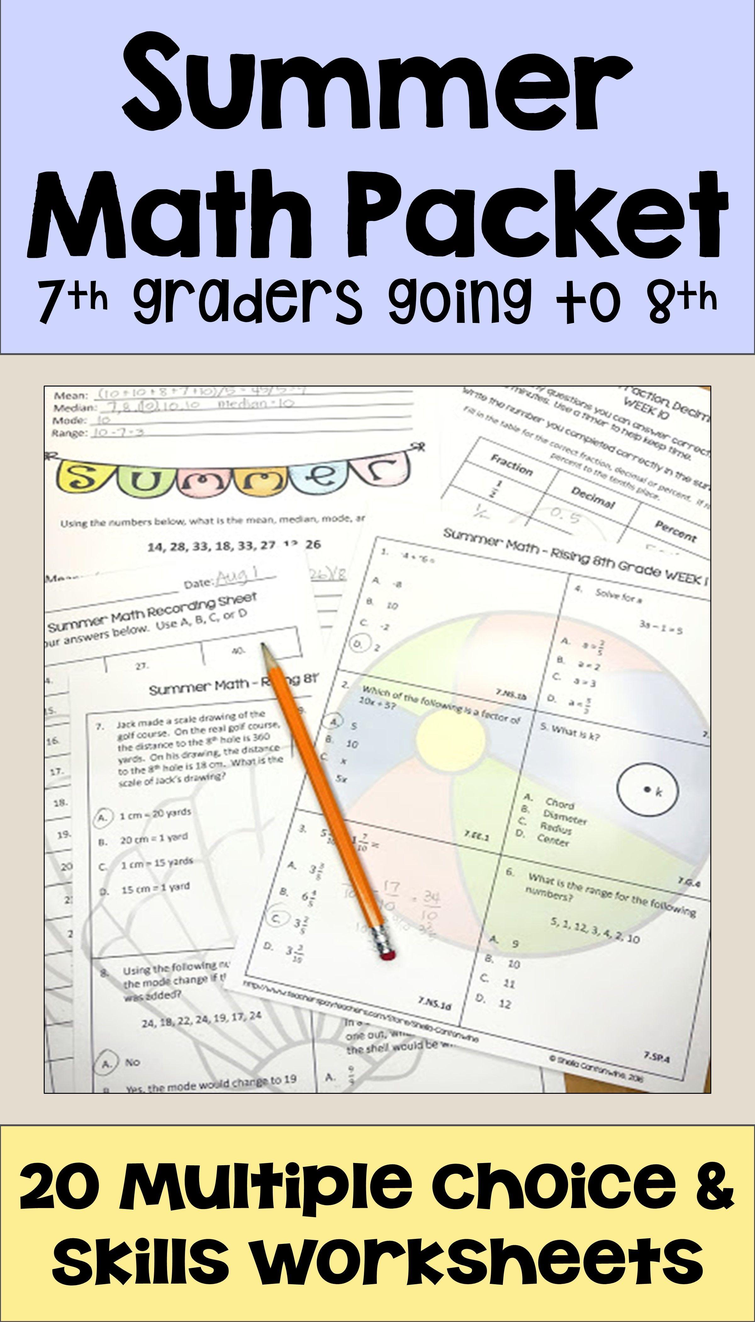 Summer Math Packet For Rising 8th Graders Review Of 7th Grade Math Summer Math Packet Summer Math Math Packets [ 4200 x 2400 Pixel ]