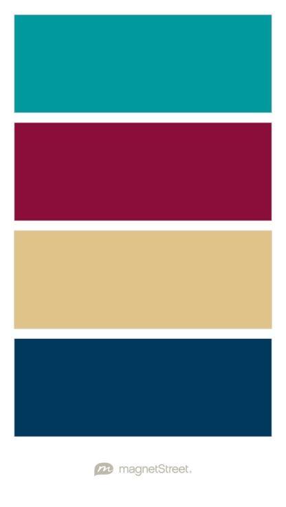 Teal, Burgundy, Gold, and Navy Wedding Color Palette - custom color ...