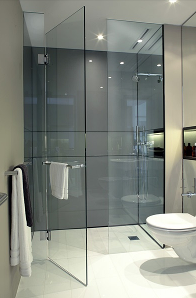 Love the idea of all glass and tile with a floor level shower (no step : tile door - Pezcame.Com