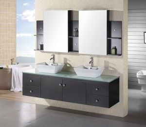 Contemporary Art Sites Customized Wall Mounted Double Bathroom Vanities