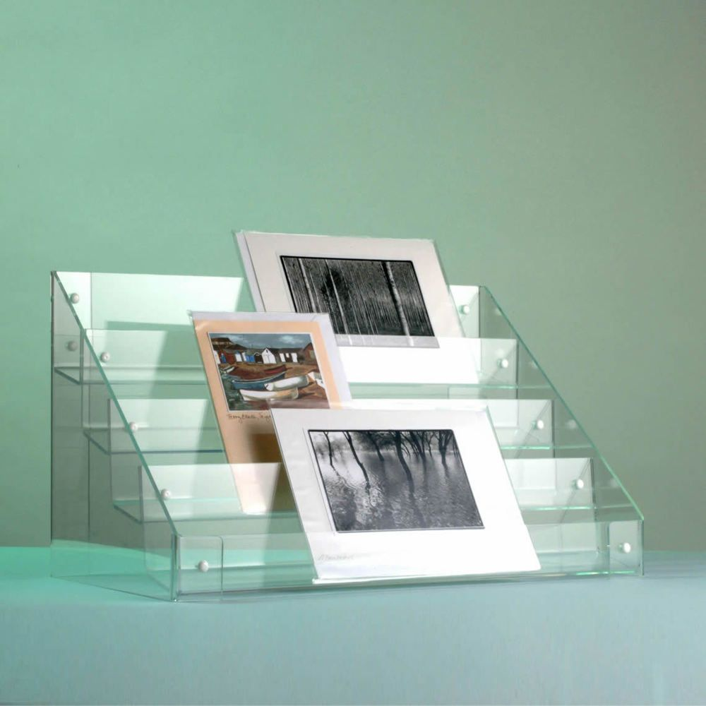 Clear Acrylic Tiered 3 Or 4 Greeting Card Retail Display Stand