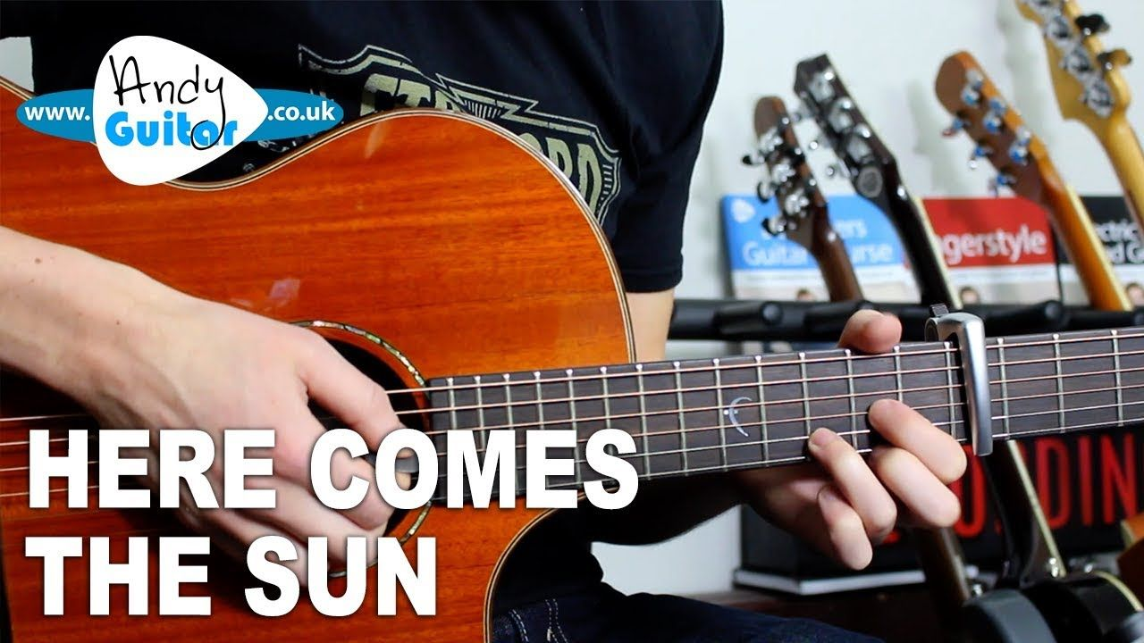 Here Comes The Sun The Beatles Acoustic Guitar Lesson Tutorial Acoustic Guitar Lessons Guitar Lessons