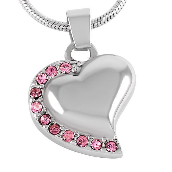 Memorial Jewelry Pink Heart Cremation Pendant Urn for Ashes Keepsake Necklace