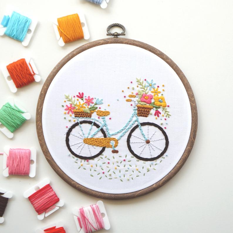 Bicycle with Flowers - PDF Embroidery Pattern, Embroidery Design, Bicycle Embroidery, Beginner Embroidery, Embroidery Tutorials