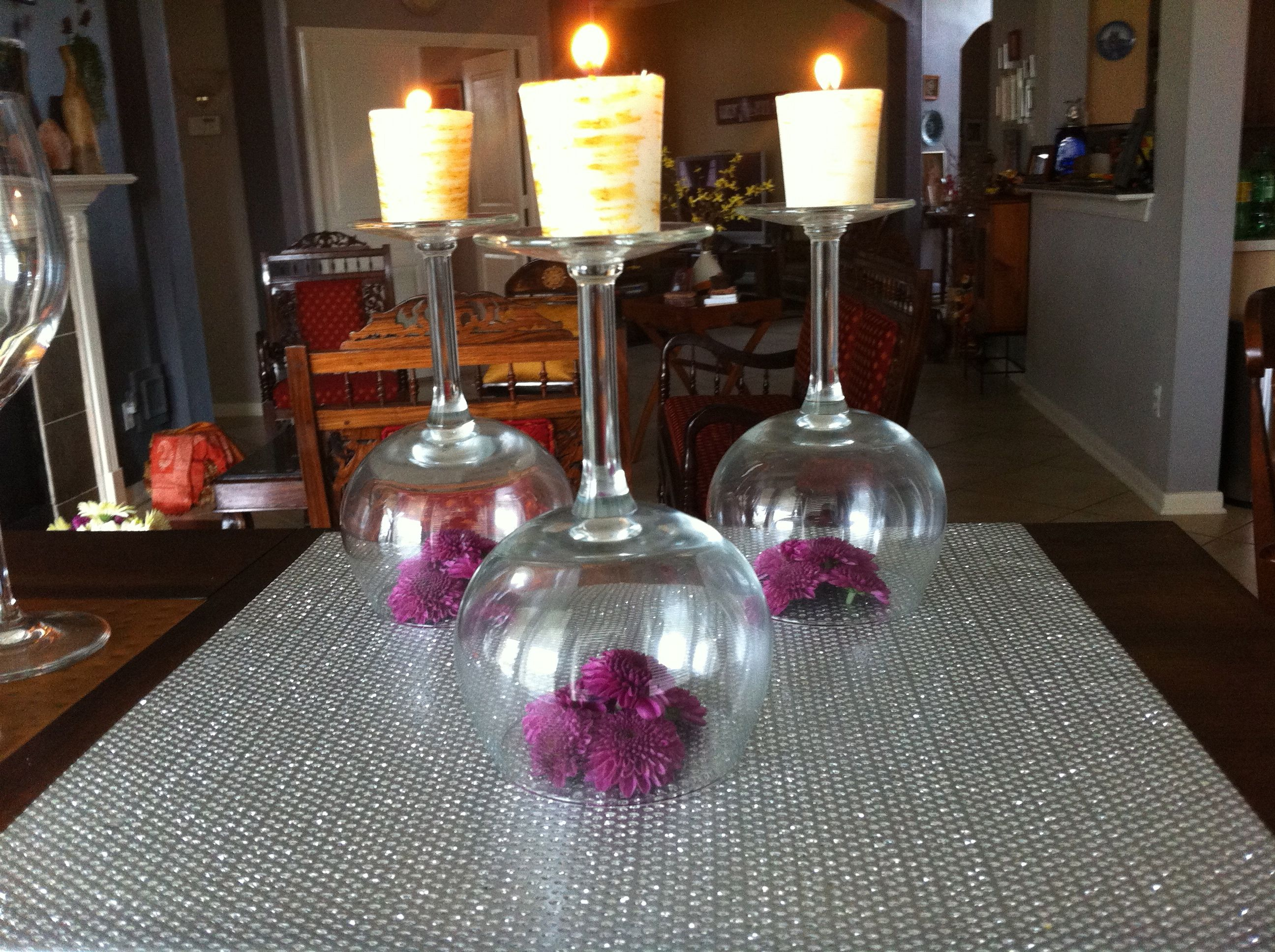 Another use for the wine glasses | Diwali decorations, Amazing decor,  Flower arrangements