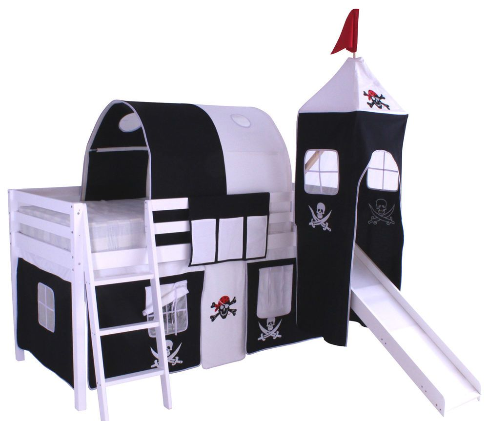 Fire truck loft bed with slide  Pirate Wooden White Cabin Loft Bed Slide Bunk With Foam Mattress ft
