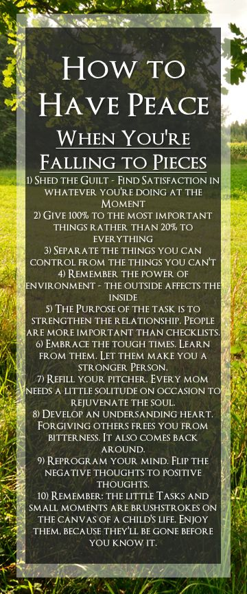 """Inner peace- 10 Secrets of LIFE ~~  From the book """"How to Have Peace When You're Falling to Pieces"""" by Rebecca Rode."""