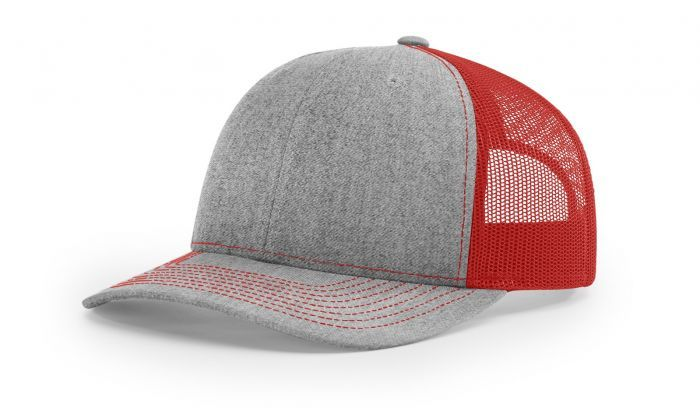 Heather Grey Red - 112 Trucker Mesh Snapback Adjustable Hat by Richardson  Caps ca86f529effc