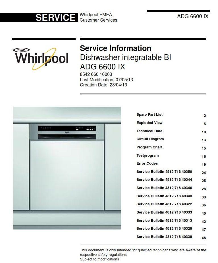 Whirlpool Adg 6600 Ix Dishwasher Service Manual Technicians Guide Dishwasher Service Whirlpool Dishwasher