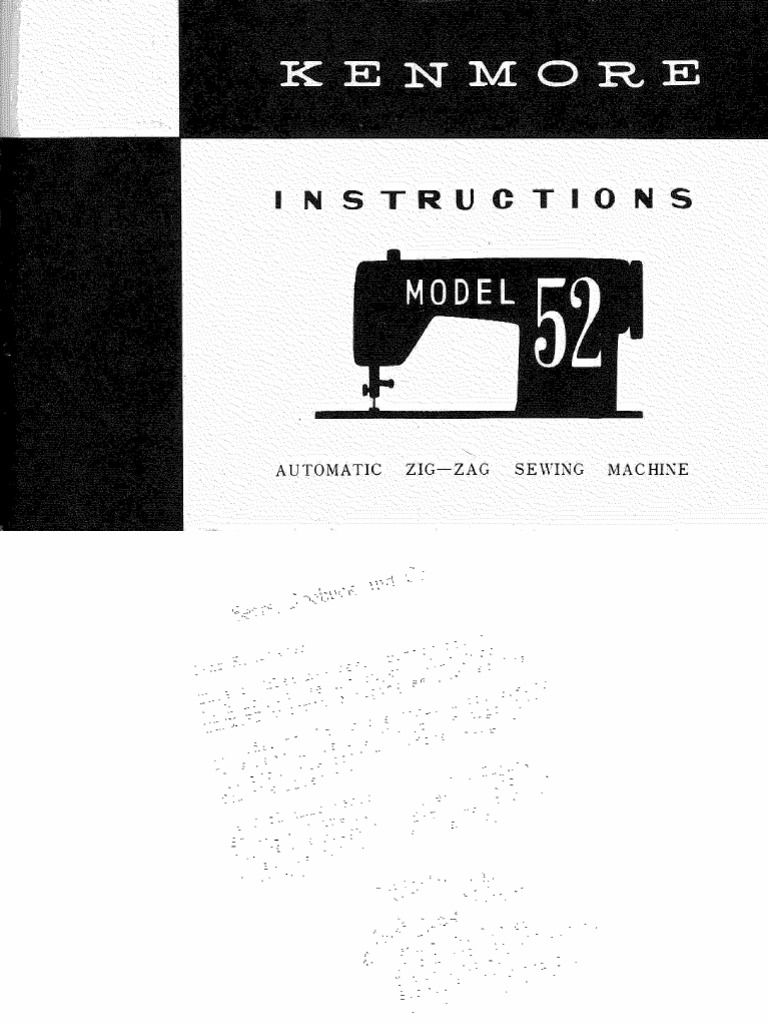 Sears Kenmore Manual for Sewing Machine Models 52. Should cover all models  with model numbers