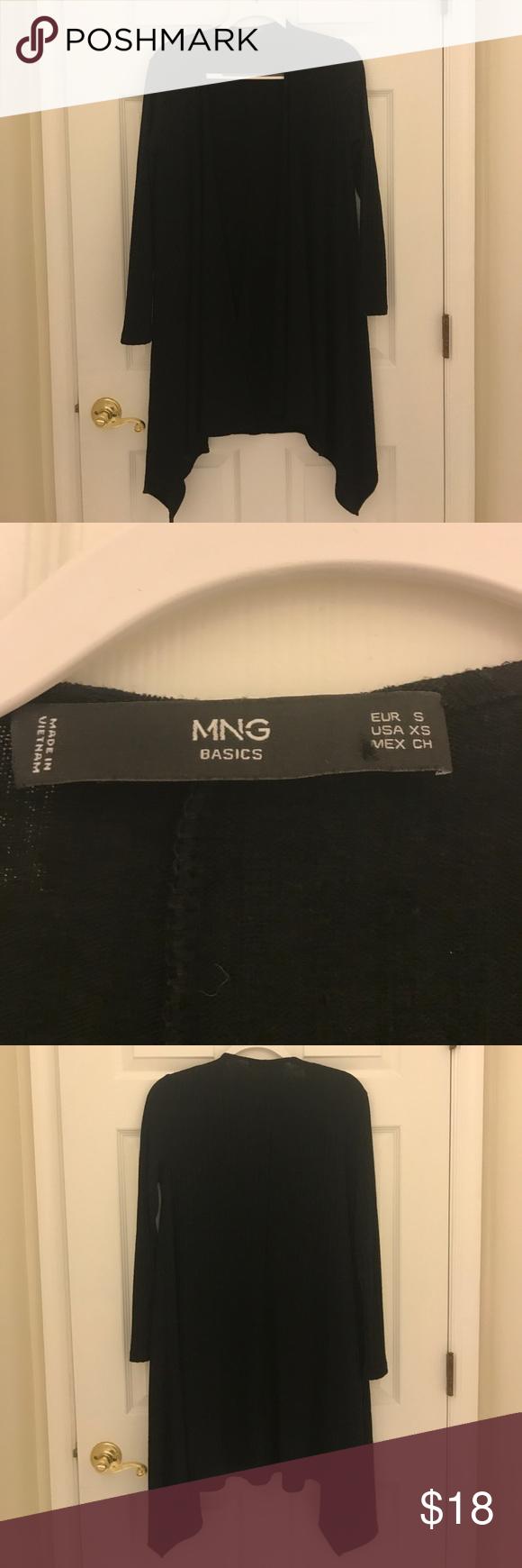 Mango Long black cardigan XS Flowy long black sweater. XS but is ...