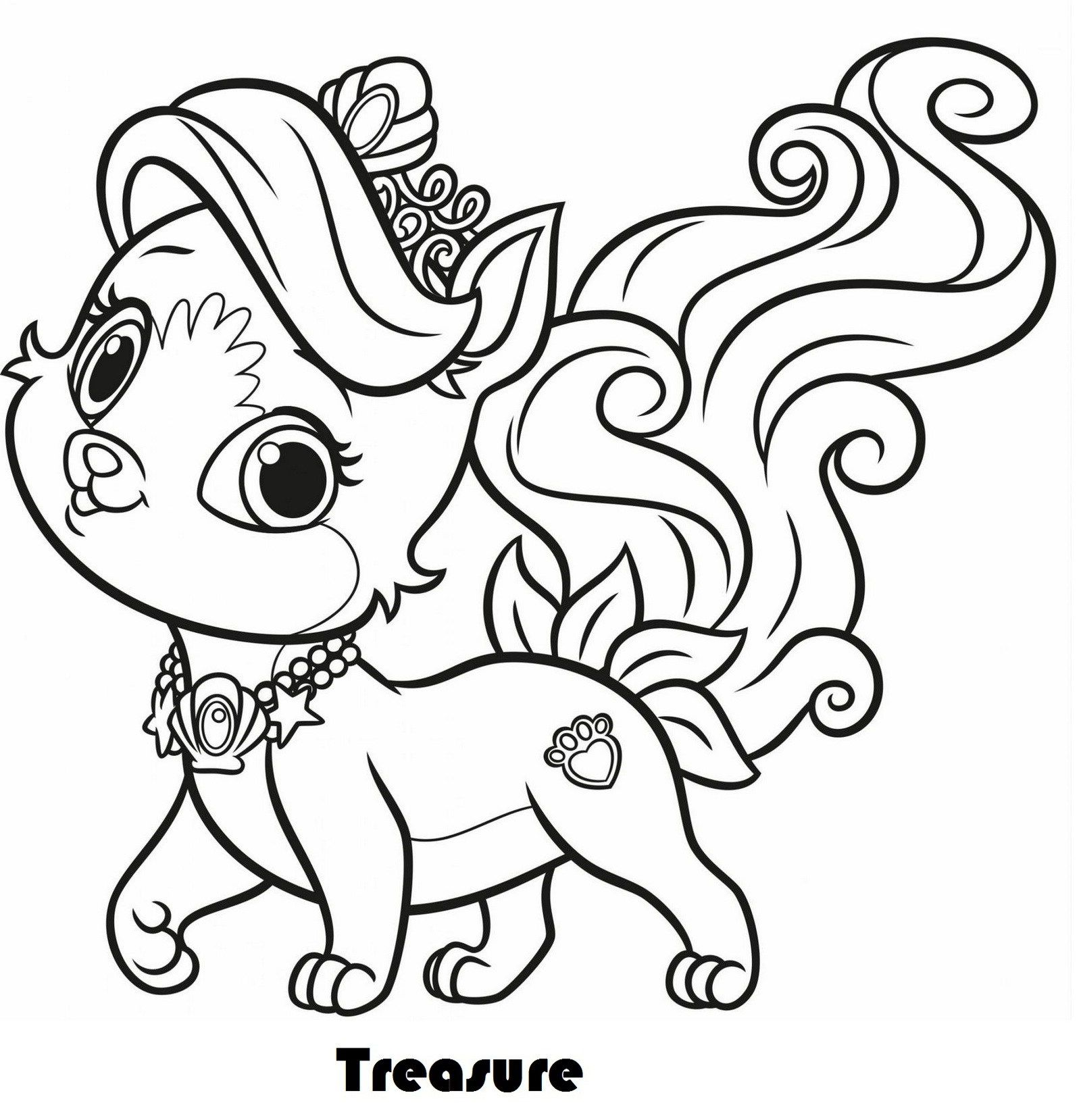 Treasure From Palace Pets Coloring Pages Puppy Coloring Pages Cat Coloring Page Animal Coloring Pages