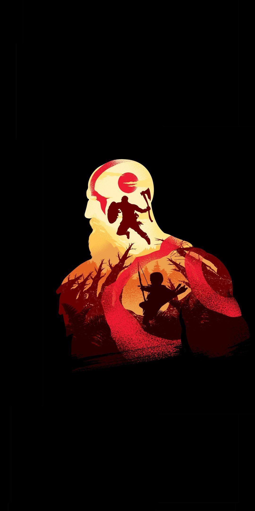 Minimal God Of War Video Game Warrior Kratos 1080x2160