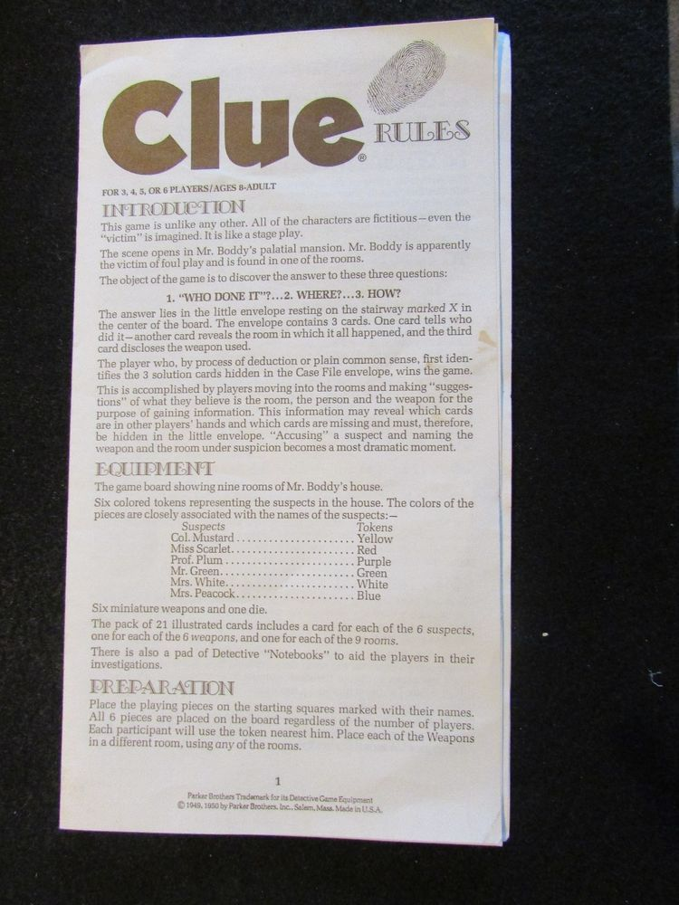 1950 Clue Detective Game Instructions Board Game Parts Pieces