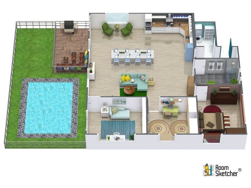 Aerial View Of A 3D Floor Plan For One Bedroom House With Backyard Living  Area And Pool Design Your Dream Home RoomSketcher It S Easy