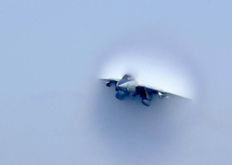 Airplane is flying through the sound barrier
