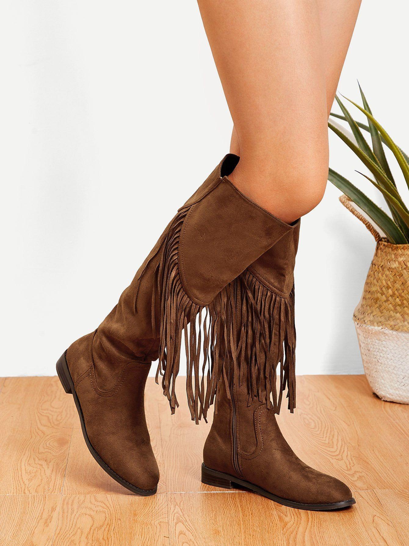 454ab3afa6a4d Casual Round Toe Knee High Side zipper Camel Mid Heel Chunky Tassel Detail Knee  High Boots