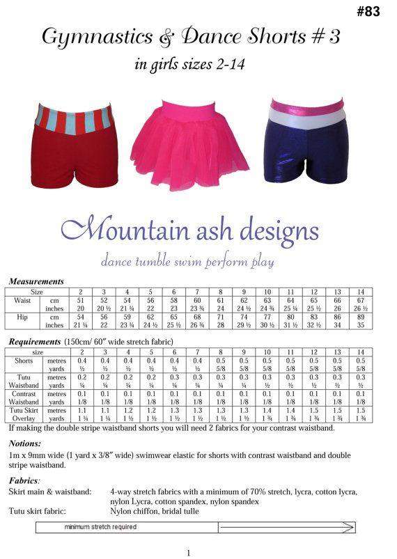 Isadora Tutu Shorts sewing pattern pdf pattern dance shorts cheer ...
