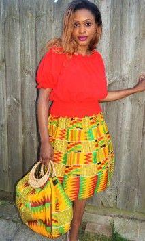 3e9acb173 Plain red chiffon top and kente skirt set | African print clothing ...