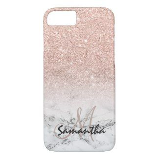 6311b8ee3 A cool, trendy and stylish faux rose gold pink glitter ombre on modern  white marble background. You can personalize it by adding your name or  monogram.