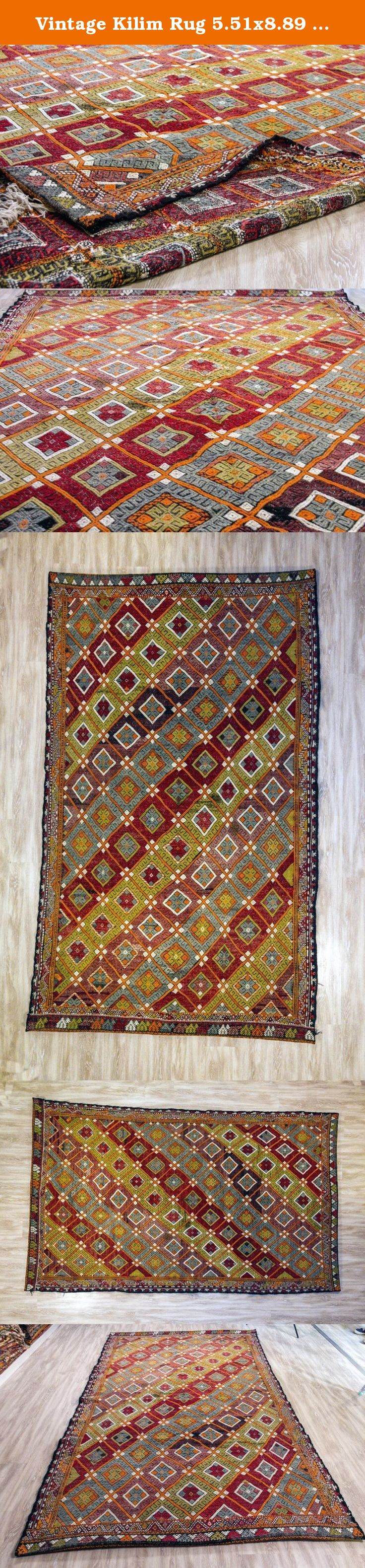 Vintage Kilim Rug 5.51x8.89 ft (168x271 cm). Beautiful vintage Turkish kilim rug around 50-60 years old and in very good condition. Material: 100%wool, hand woven. Size: 5.51x8.89 ft (168x271 cm) Shipping in 1-3* days We will rework all kilims before ship (head/end corrections,fringe creation, stretching, border correction,local corrections and re-cleaning etc) We deliver it in perfect condition. We use express shipping; USA maximum 4 business days,Europe max. 3 business days Ref: M2311-36.