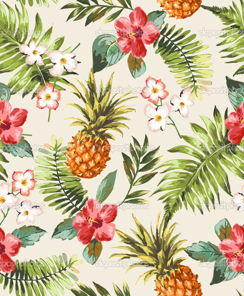 Vintage seamless tropical flowers with pineapple vector ...