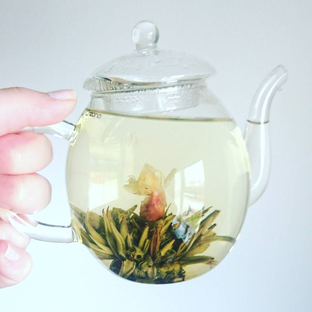 Trying some flowering tea - silver needle with rose and jasmine!