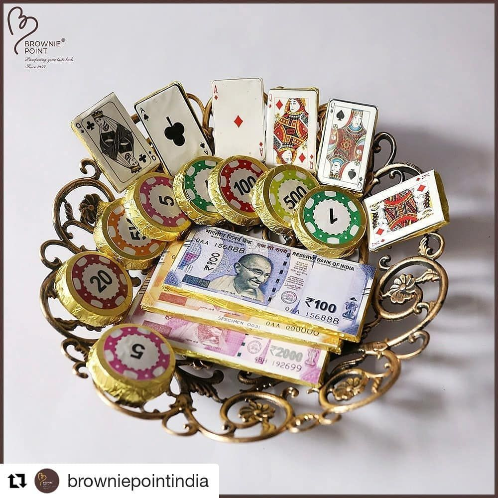 diwali and cards go hand in hand.how wonderful to carry this poker themed basket for a poker  the shagun of playing cards and enjoy eating wonderful chocolate too... . . . . . . . . . . . . .