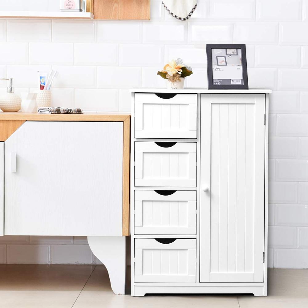 Amazon Com Giantex Bathroom Floor Cabinet Wooden With 1 Door 4 Drawer Free Standing Wooden E Bathroom Floor Cabinets Bathroom Flooring Tall Cabinet Storage