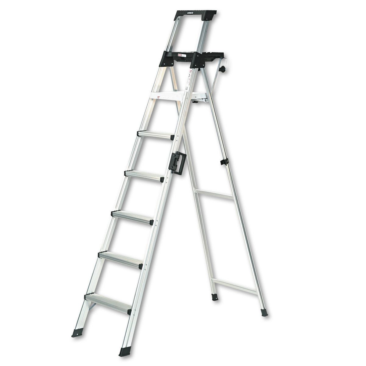 Cosco 8 Ft Signature Series Aluminum Folding Step Ladder With Leg Lock Handle 300 Lb Type Ia Duty Rating Walmart Com Step Ladders Cosco Ladder