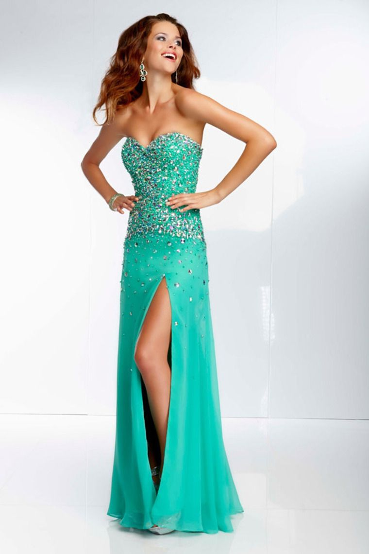 Shop Stunning Prom Dresses Sweetheart Rhinestone Beaded Bodice With ...