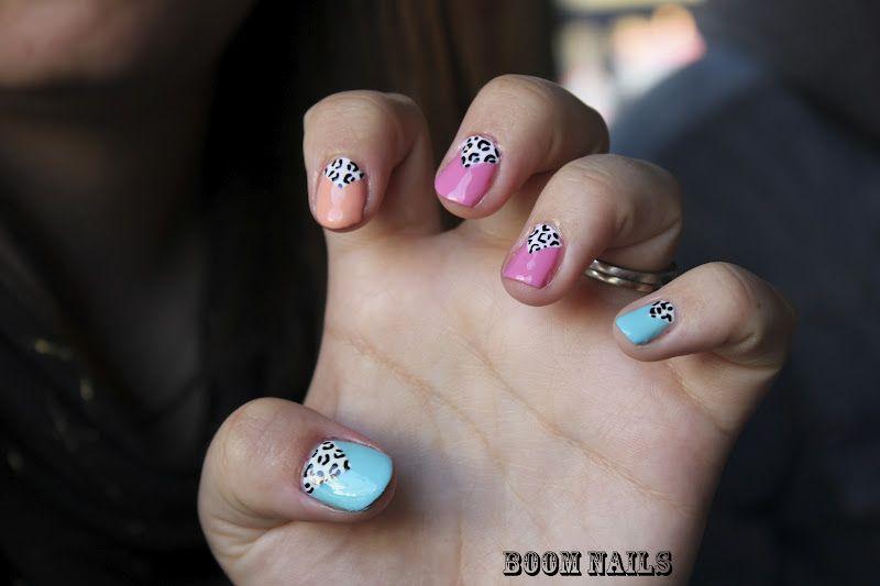 white leopard print in v nail art design