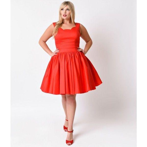 Red dress plus size retro dress