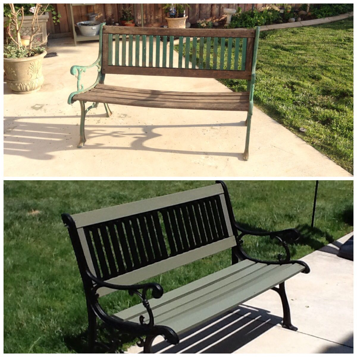 Refurbished Old Garden Bench Repainted The Rod Iron My 400 x 300