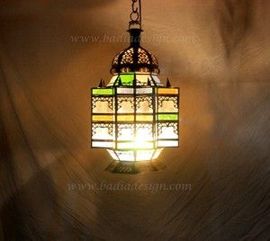 Moroccan Hanging Lantern With Multi Color Glass From Badia Design Inc.