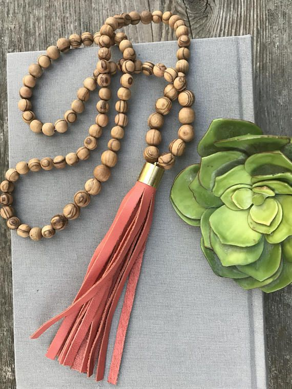 Beaded Necklace Olive Wood Bead Necklace with Leather Tassel