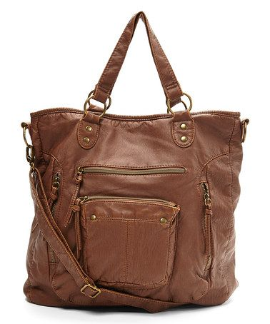 This Brown Washed Pocket Tote is perfect! #zulilyfinds