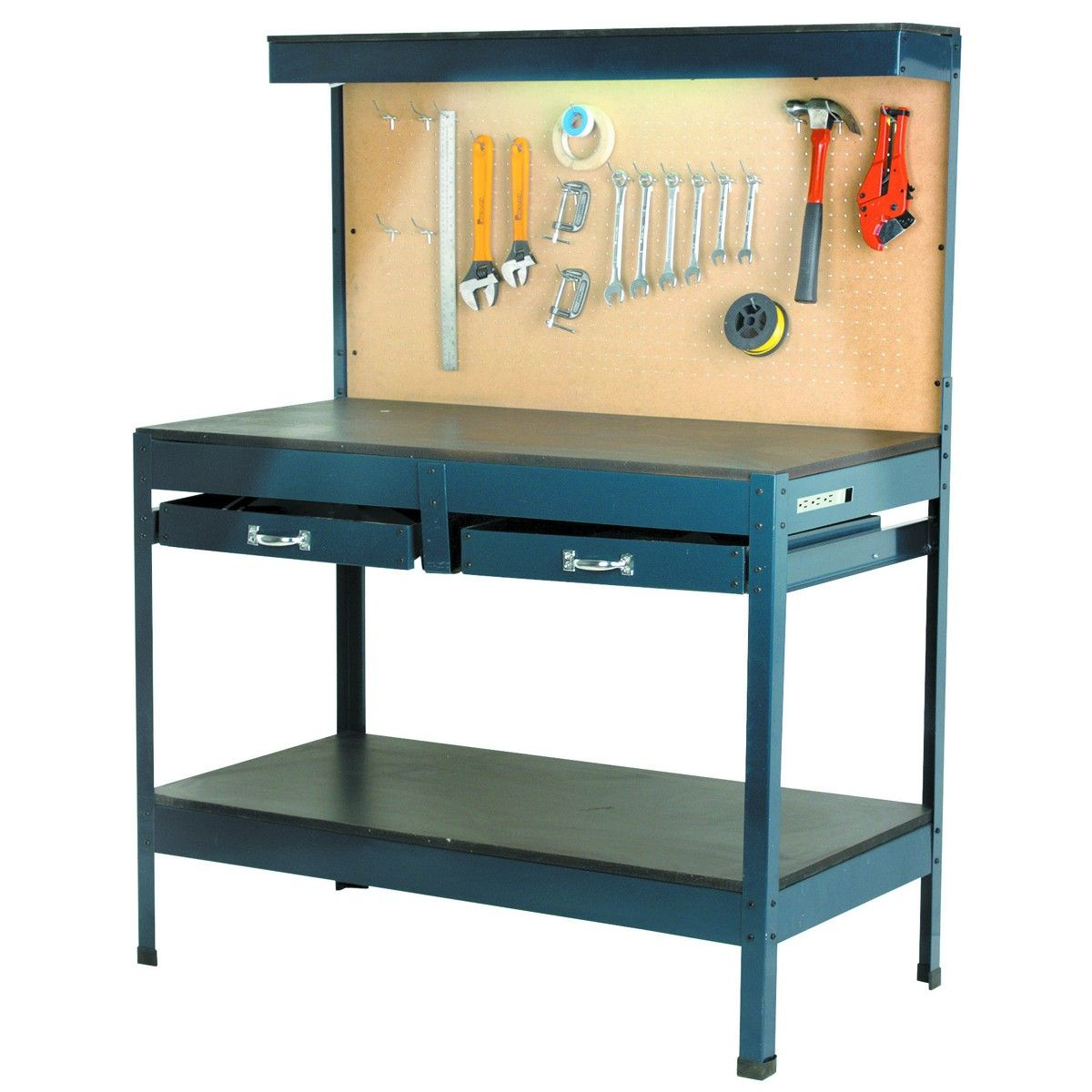 Garage Workbench W Lighting And Outlets Harbor Freight Got It For Cheap Will Be Good For My Clipper Set Up Workbench Workbench Designs Mobile Workbench