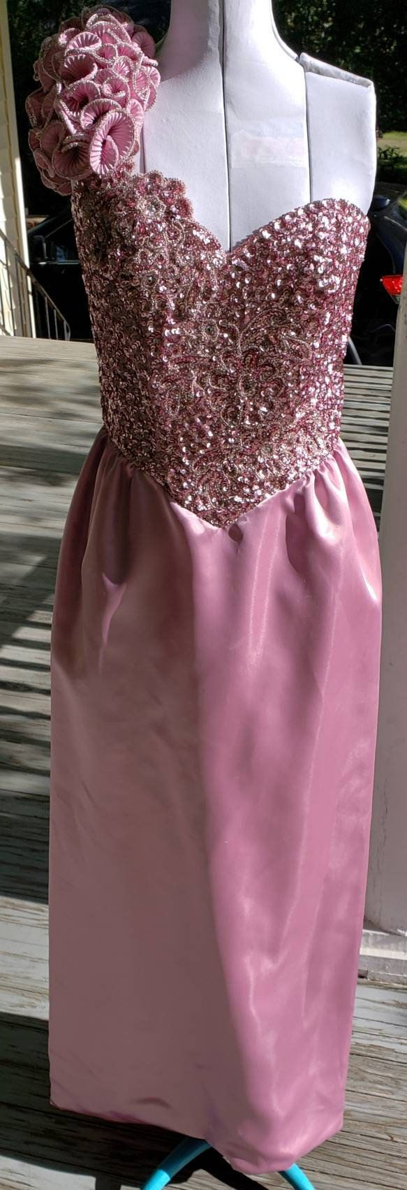 Ss prom dress rose pink asymmetrical ruffled strap sequin